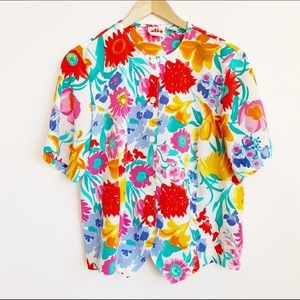 bright floral short sleeve buttonup tshirt blouse